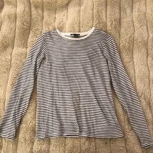 Vince Navy and White Striped Soft Long Sleeve XS